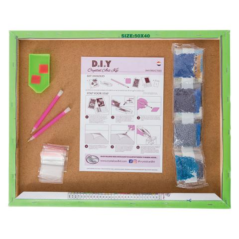 Crystal Art Large Framed Kit Winter Village distributed by Outset Media