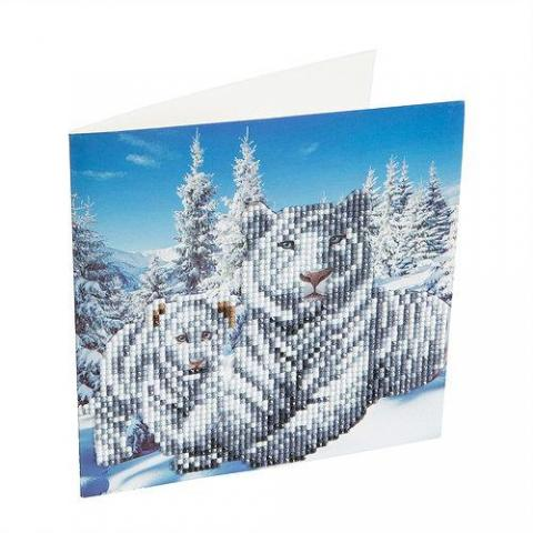 Crystal Art Card Kit White Tigers distributed by Outset Media